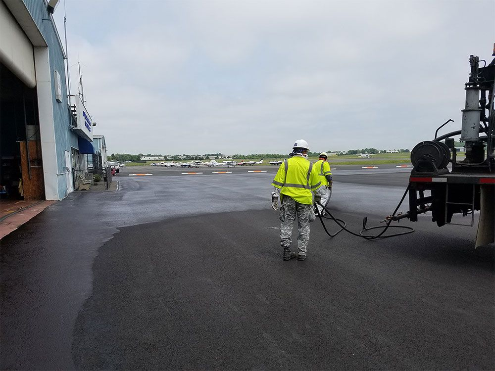 Fuel resistant slurry seal operations are underway.